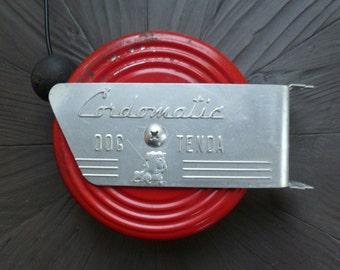 Cordomatic Dog Tenda. Retractable Dog Run Leash. Vintage 1960s. Red Metal Aluminum. Bulldog. Art Deco, Industrial, Retro Decor. Clothesline.