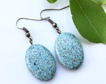 Turquoise Ovals . Earrings