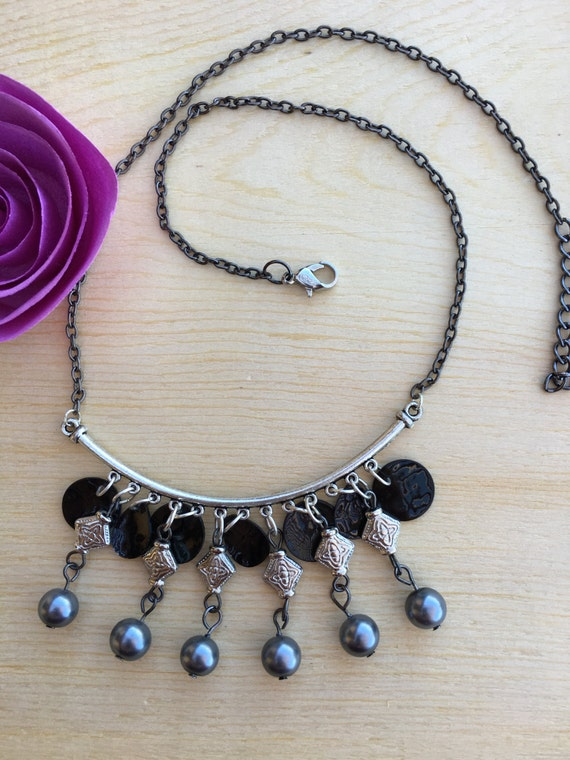 Necklace - India inspired with Gray Glass Pearls hanging on silver links and Black Shells on a Silver Bezel hung on Gunmetal Chain