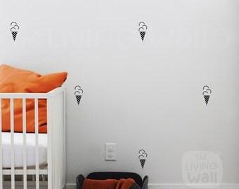Ice Cream Cone Nursery Wall Pattern, Wall Decals Nursery Decor, Fruit Vinyl Wall Stickers, Kids Room Wall Sticker Monochrome Australian made