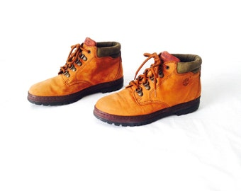 vintage timberland style women's hiking BOOTS brown LEATHER vintage 80s 90s booties shoes