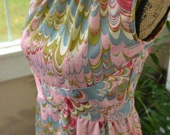 Vintage Leslie Fay Original Pink Mod Maxi Dress - M
