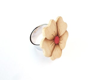Flower ring, Floral ring, Bohemian rings, Flower jewelry, Fashion rings, Wooden ring, Unique ring, Statement rings, Wooden jewelry
