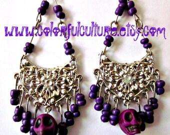 Chandelier Dia de los Muertos - Day of the Dead / Sugar Skull Earrings - Metal and Purple Beads