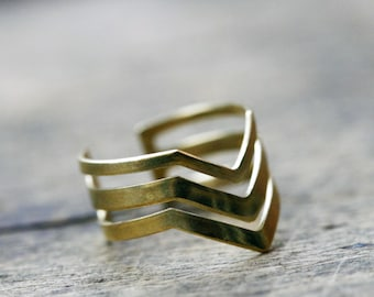 Triple Chevron Ring, Gold Chevron Ring, Adjustable Double Chevron Ring, Brass Stacking Ring, Modern Geometry, Gold Brass Chevron Ring