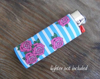 Roses and Stripes Vinyl Waterproof Sticker for Lighter, wrap, skin, cover, smoke weed, pot, bic, 420