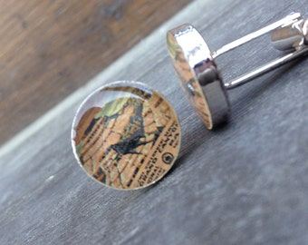 Vintage Grand Canyon Poster Resin Cuff Links Silver Plated