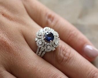 18k white gold round diamond and round salon sapphire ring