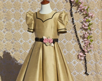Flower girl dress shimmering gold with black and rose trim Reduced price