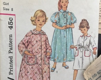 Vintage Simplicity Girls Sewing Pattern Size 8 Girls Robe in 2 lengths