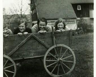 """Vintage Photo """"Farm Fun"""" Snapshot Photo Old Antique Photo Black & White Photograph Found Photo Paper Ephemera Vernacular - 138"""