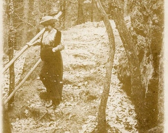 "Vintage Real Photo Postcard ""Miss Tetterman"" Woman Girl Forest Antique RPPC Photo Black & White Photography Paper Ephemera Vernacular - 76"