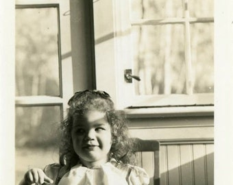 "Vintage Photo ""Ice Cream for Breakfast"" Girl Eating Food Snapshot Old Photo Black & White Photograph Found Paper Ephemera Vernacular - 199"