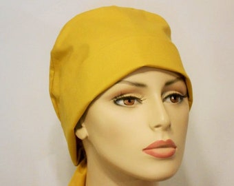 Scrub Hat Medical Style Pixie Tie Back- Solid Gold