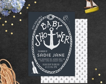Baby Shower Invitation WITH Envelope Liners // Nautical or Under the Sea // DIGITAL