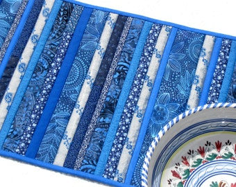 Batik blues quilted table runner, indigo patchwork placemat, Mother's Day gift