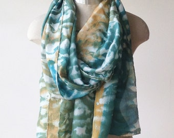 oversized silk scarf, screen printed scarves, hand painted wrap, teal and bronze pattern, abstract geometric print