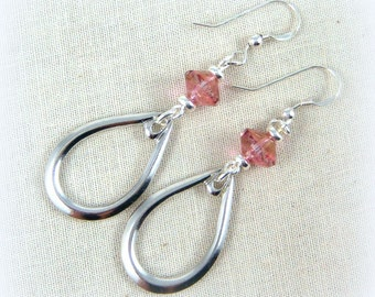 Silver TearDrop Earrings, Pink and Silver Tear Drop Earrings, Everyday Earrings, Tear Drop Dangles