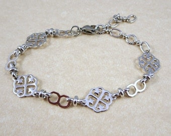 Silver Chain Bracelet - Decorative Silver Chain, Adjustable Length - Available in Silver and Gold