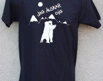 Men's Polar bear shirt, Swedish Jag Älskar Dig, (I Love you) screen printed by hand on American Apparel navy tee