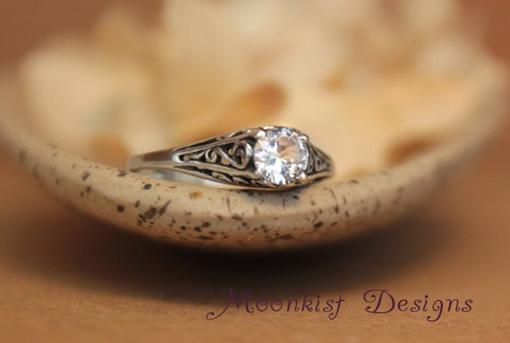 Dainty White Sapphire Filigree Engagement Ring in Sterling