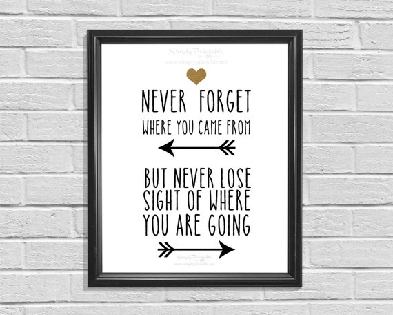 Printable Wall Decor, Inspirational Quote, Never Forget Where You Came From, Digital Home Decor