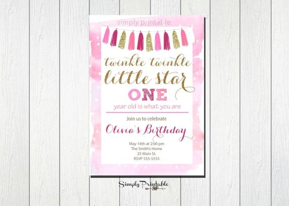 Twinkle Twinkle Little Star Invitation, 1st Birthday Invitation, First Birthday, Faux Glitter, Gold and Pink Invite