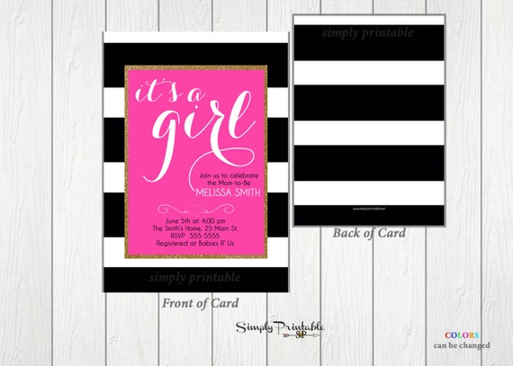 Baby Shower Invitation, PInk Black and White Striped, It's a Girl Shower Invite, Bridal Shower