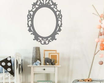 Oval Frame Wall Decal - Vinyl Wall Frame Decal Fancy Frame Wall Decal Girls Bedroom Decal