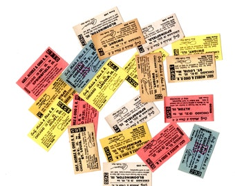 10 Vintage Illinois Train Tickets - Mixed Media, Collage, Altered Art, Assemblage, Art Journal, Scrapbooking Supplies