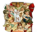 printable Victorian Christmas pop up book  page kit, downlad  altered art Card with stand paper collage kit
