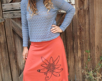 Passion Flower Screen Printed Skirt Soy Organic Cotton Spandex USA Made New