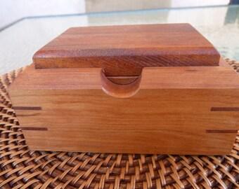 Small Treasure Box Series: Handcrafted Treasure/Jewelry/ Keepsake Box in Cherry with Mahogany Lid