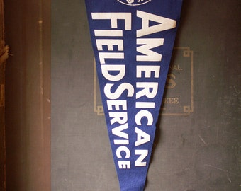 Vintage Large Blue and White AFS American Field Service Pennant