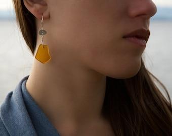 Caramel Brown Sea Glass Earrings in Sterling Silver