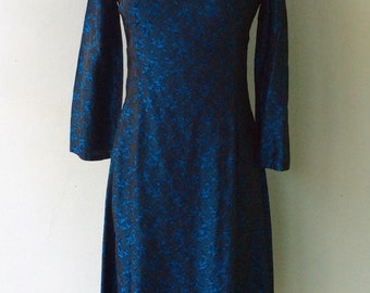 1980s BLUE Silk Floral Cocktail Party Dress // Small