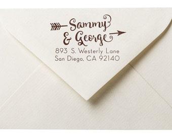 Wedding Address Stamp - Personalized Stamp - Arrow - DIY Printing - Housewarming - Wedding Gift Ideas - Couple Address Stamp - Playful Font