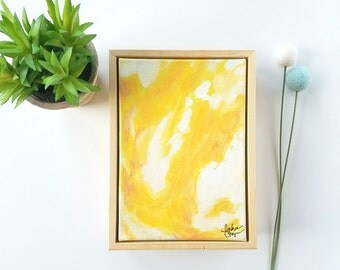 Yellow Abstract Art, Yellow Home Accessories, Interior Styling, Yellow Decor, Original Artwork, Abstract Painting
