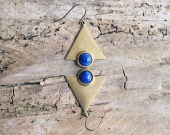 Blue and Gold Triangle Earrings // Geometric Earrings, Dangle Earrings, Minimal, Geometric Jewelry, Simple, Modern, Minimalist