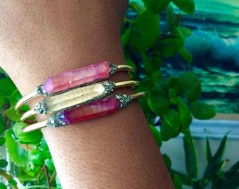 Crystal Cuff Bracelet/  Boho Luxe/ Bridal Gift Set/ Bohemian Wedding / Gift for Her