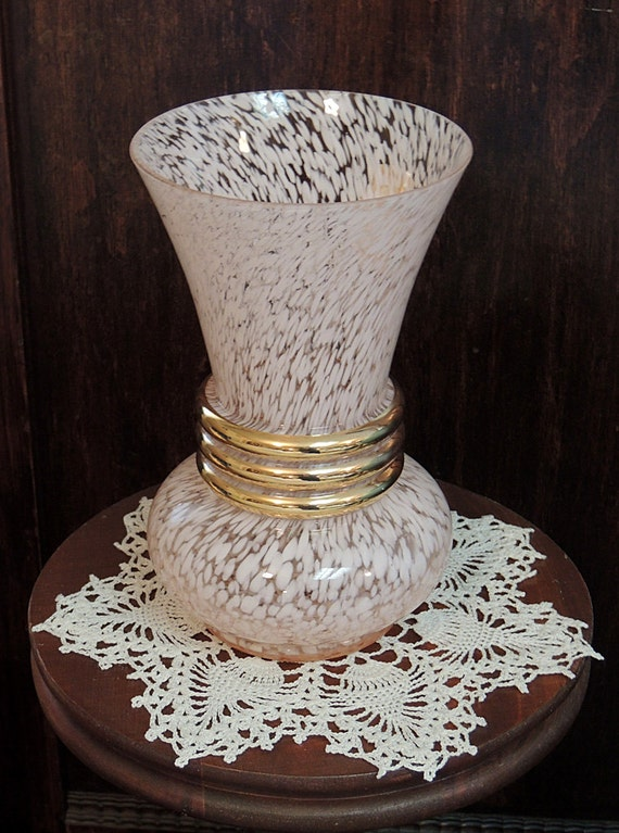 Large Vintage 1950's French Mid Century Spatter Glass Vase Pink & Gold.. Original Label France