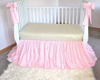 Shades Up & Co! Heirloom Crib Skirt Baby Pink SIGNATURE Hem Custom Drop With 2 FREE Crib Bows Custom Crib Bedding Baby Girl Bedding
