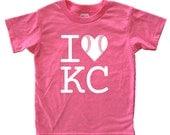 Royal Baseball - I Love Kansas City Baseball Tshirt - Kids Shirt - Youth Boy or Girl Shirt Size 2, 4, 6, 8, 10, 12 KC Super Soft Kids Tee
