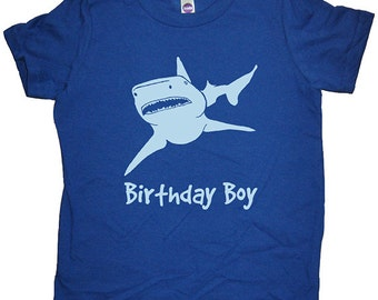 Birthday Shark Shirt - Shark Birthday Boy Tee - Shark Attack T Shirt - 7 Colors - T shirt Sizes 2T, 4T, 6, 8, 10, 12 - Gift Friendly