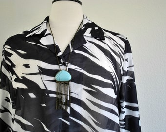 vintage sheer black and white button up blouse size large fits up to xlarge