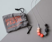 Neon Polymer Necklace on Silver Plate Chain (2)