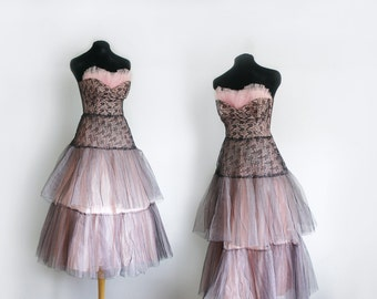 1950s taffeta and tulle blush pink and black lace crinoline party dress size small