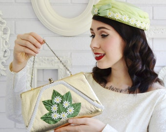 Green Hat and Gold Purse Set with Daisies, Vintage and Upcycled
