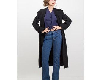Winter coat / Vintage Black wool swing coat /  Dana cote d'azur S M