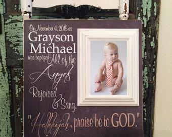 Baby Gift, Baby Picture Frame, Baby Boy, Godson Gift, Baptism Gift, Christening Gift, Baby Girl,  Custom Baby Frame,  16x16